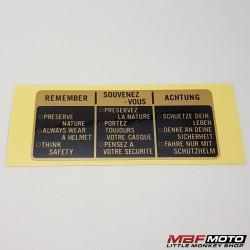 Varoitustarra. Honda 87560-422-300